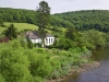 The Moravian Church (1833) nestling on the banks of the River Wye at Brockweir, Gloucestershire