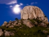 Moonrise over rock formations below Dedza Mountain, Dedza, Malawi, Africa