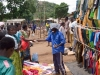 Clothing on sale at the Saturday market in the village of Nkoma, Malawi, Africa