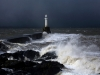 Severe weather battering one of the lighthouses marking the entrance to Aberdeen Harbour, Aberdeenshire